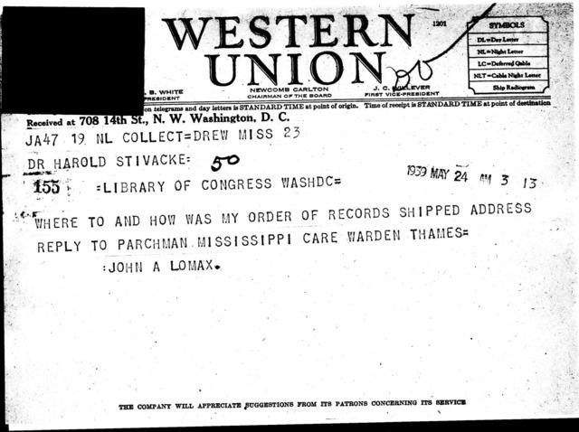 """Telegram from John A. Lomax to Harold """"Stivacke"""""""