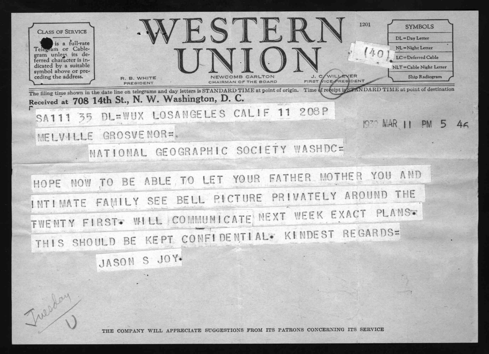 Telegrams, from March 11, 1939 to March 18, 1939