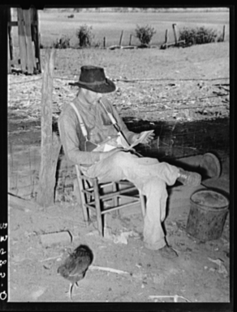 Tenant farmer looking through the mail. Near Muskogee, Oklahoma. See general caption 20