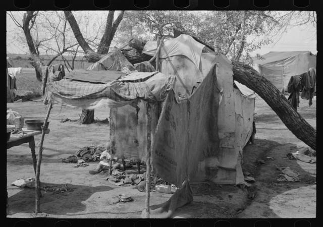 Tent camp of migrants north of Harlingen, Texas