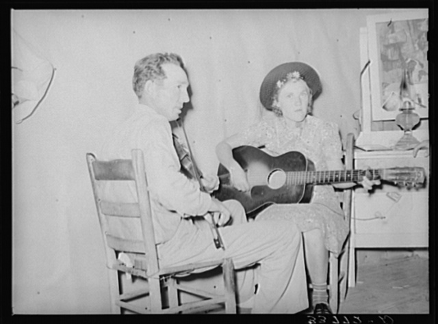 The band at square dance in rural section of hills near McAlester, Pittsburg County, Oklahoma. Sharecropper's home