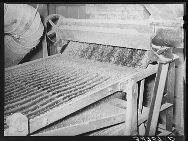 The cleaning of the linters from seed is accomplished in several stages. This screening machine separates the cotton seed according to degree of delinting. Cotton seed oil mill. McLennan County, Texas. See caption number 34751-D