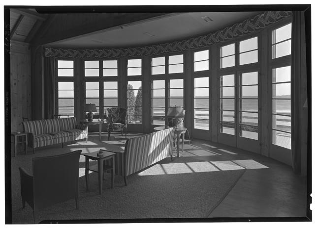 The Dunes Club, Narragansett, Rhode Island. Club room, detail of ocean window