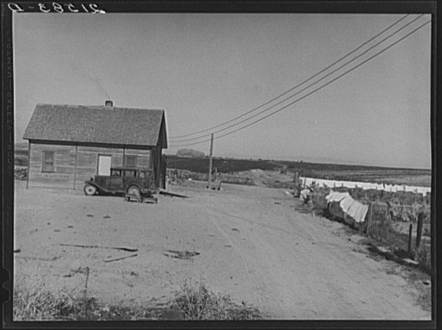 The Schroeder family's new house. Cleared and irrigated fields of their land beyond. Dead Ox Flat, Malheur County, Oregon. General caption 67
