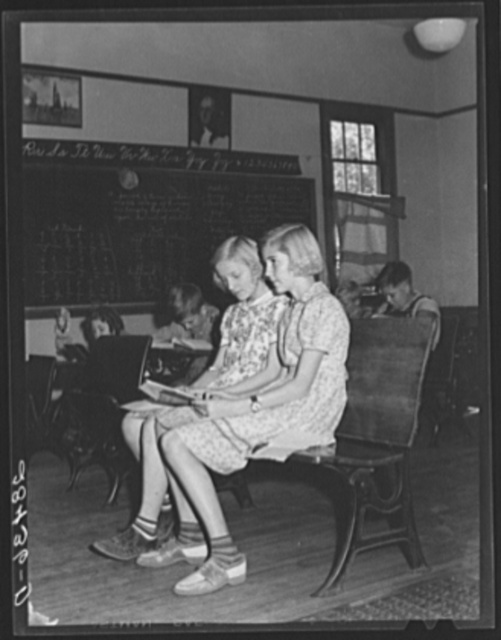The two members of the fifth grade in Louis Slinker's one-room schoolhouse. Grundy County, Iowa