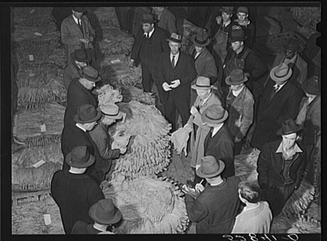 Tobacco auctioneer (in white gloves) and buyers during auction sale in warehouse in Mebane, Orange County, North Carolina