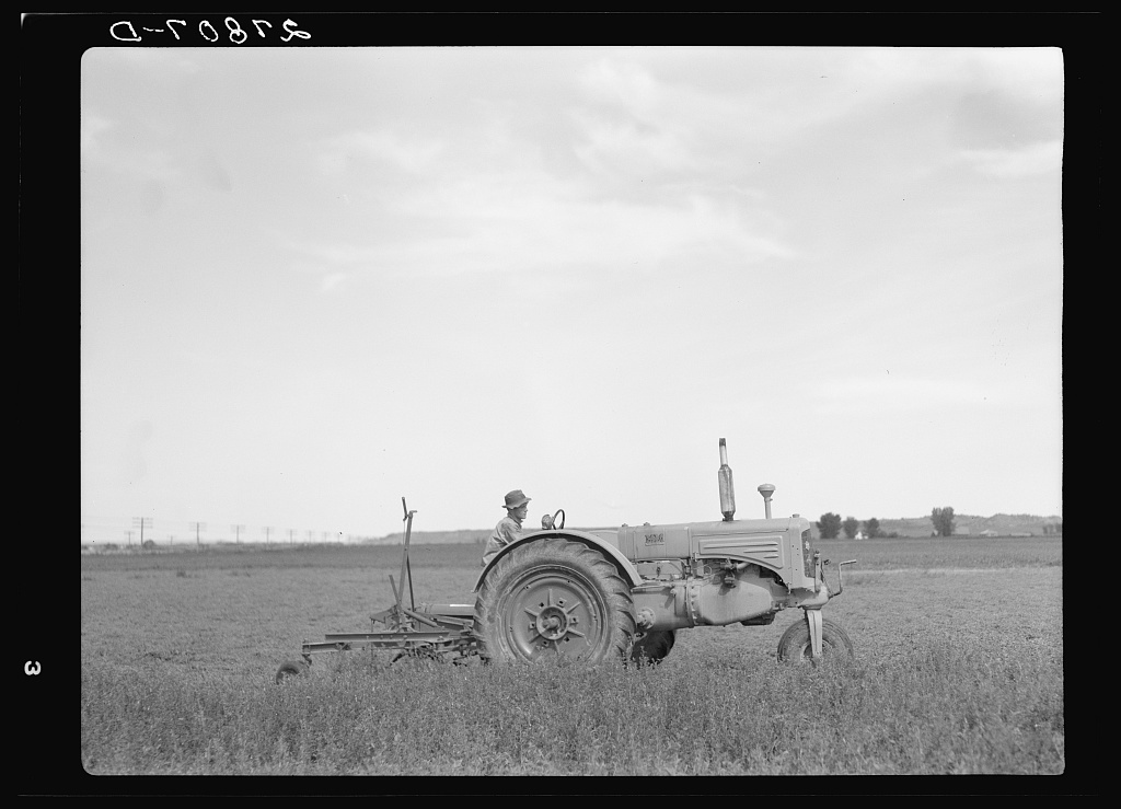 Tractor used in cutting alfalfa. Rosebud County, Montana
