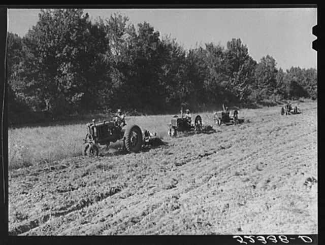 Tractors preparing land for planting oats in the fall after the cotton has been picked and the stalks plowed. Good Hope Plantation, Mileston, Mississippi