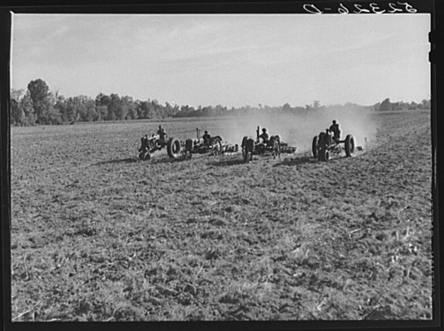 Tractors preparing land for planting oats in the fall after the cotton has been picked and the stalks plowed up. Good Hope Plantation, Mileston, Mississippi