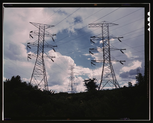 Transmission line towers and high tension lines that carry current generated at TVA's Wilson Dam hydroelectric plant, near Sheffield, Ala.
