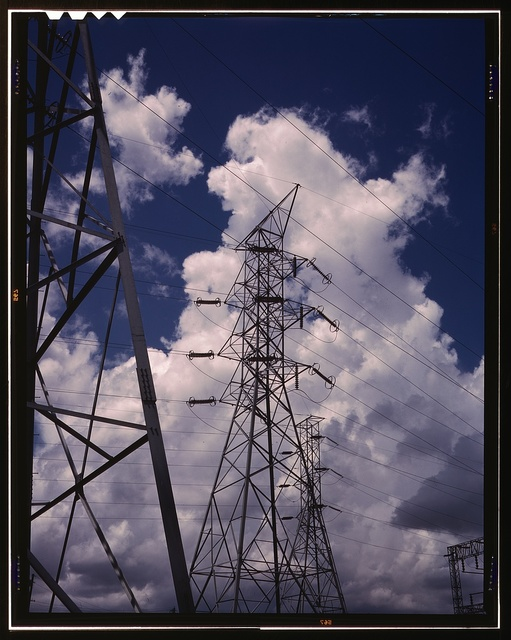 Transmission towers in the switchyard of TVA's Chickamauga Dam, near Chattanooga, Tenn.