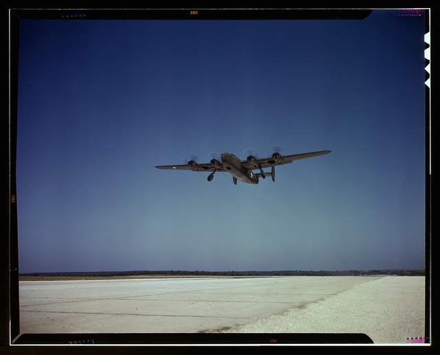 Transport plane takes off on test flight, Consolidated Aircraft Corp., Fort Worth, Texas