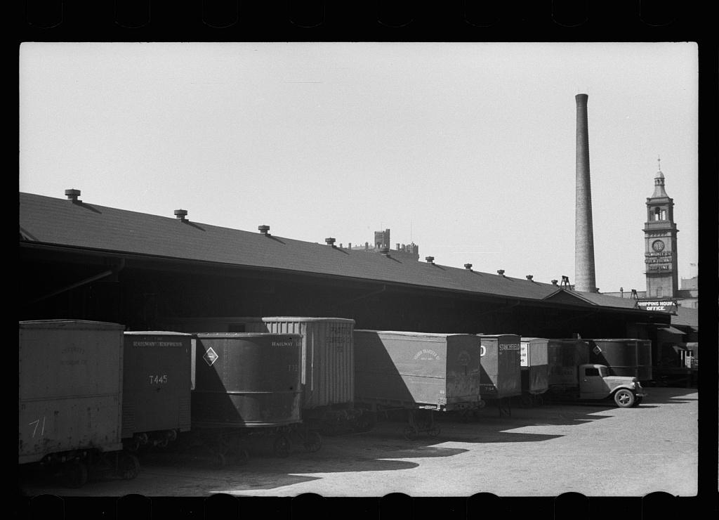 Trucks at terminal warehouse, Minneapolis, Minnesota