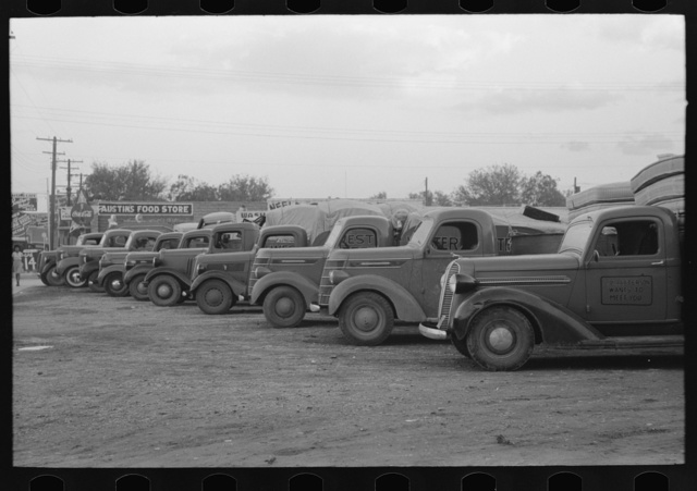 Trucks loaded with mattresses, San Angelo, Texas. These mattress factories use much local cotton