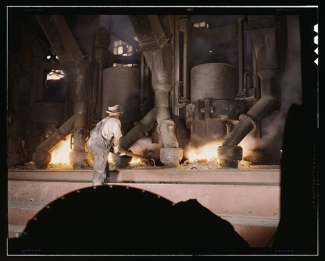 TVA chemical plant, electric furnace loaded with phosphate, vicinity of Muscle Shoals, Alabama