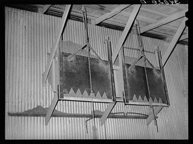 Type of drop gate for loading of cotton seed hulls onto trucks. Cotton seed oil mill. McLennan County, Texas