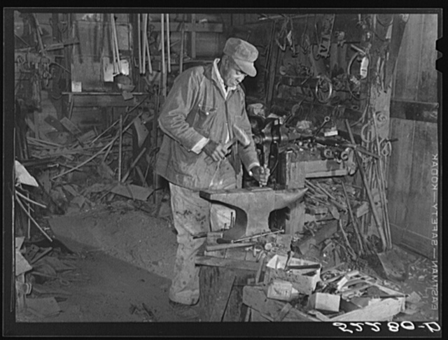Uncle George, blacksmith and carpenter who came from prison as a boy to the Marcella Plantation and has lived there for fifty years. Mileston, Mississippi Delta, Mississippi