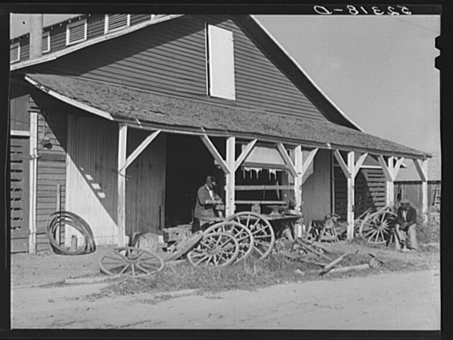 Uncle George's blacksmith and carpentry shop. He has been on the plantation for fifty years. Marcella Plantation, Mileston, Mississippi