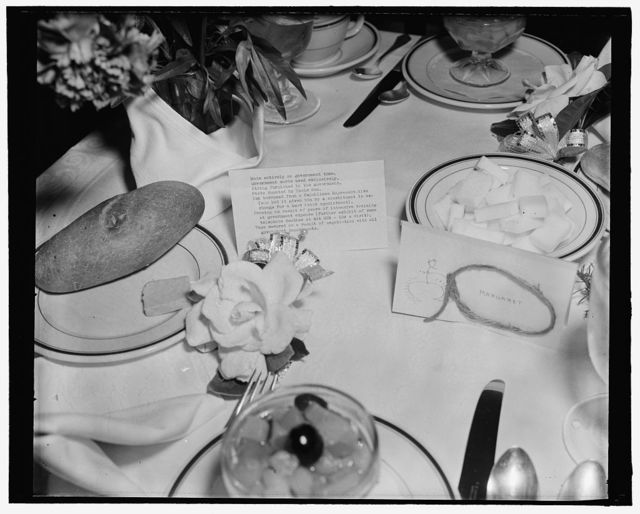 Uncle Sam 'paid' for place cards at this Solon's luncheon. Washington, D.C., March 29. Place cards at the luncheon given by Rep. Lawrence Lewis, democrat of Colorado, for his friends at the Capitol today were unusual, to say the least. On the back of the cards he left no doubt in the minds of his guests that the government footed the bill for them. 3-29-39