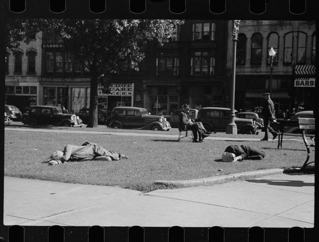 Unemployed men in Gateway District, Minneapolis, Minnesota