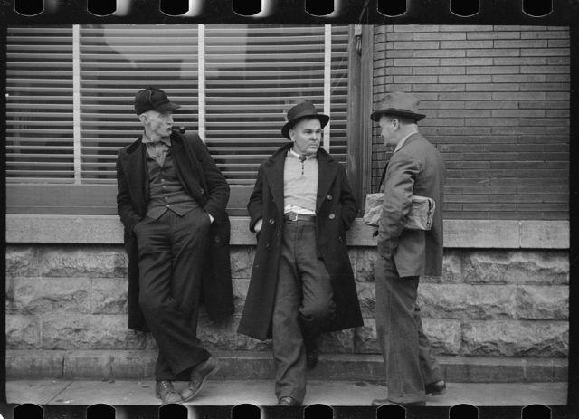 Unemployed miners on corner of main street, Herrin, Illinois