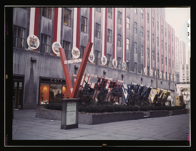 United Nations exhibit by OWI in Rockefeller Plaza, New York, N.Y. View of entrance from 5th Avenue