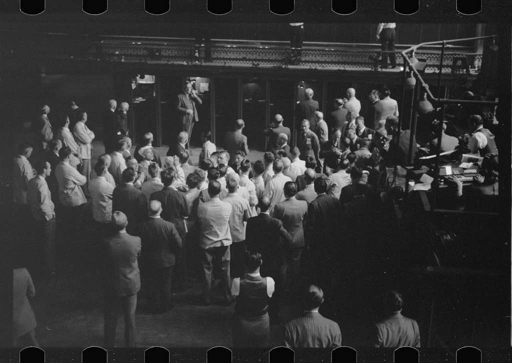 Untitled photo, possibly related to: Bidding on futures, Minneapolis Grain Exchange, Minnesota