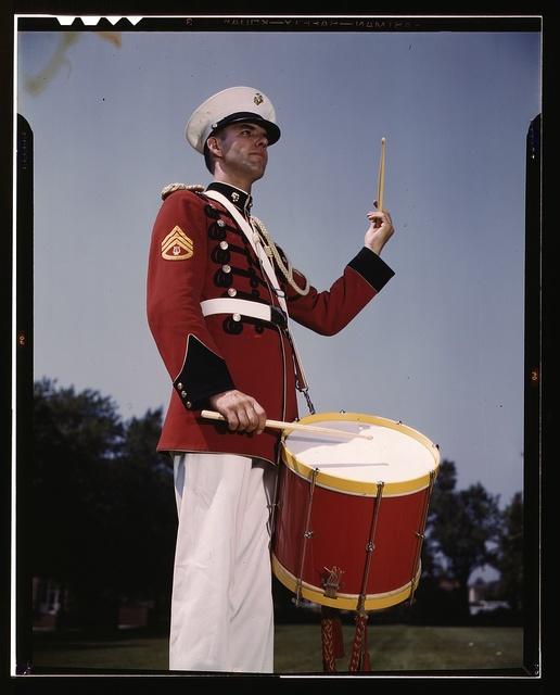 [U.S. Marine Band drummer, probably at the Marine Barracks, Washington, D.C.]