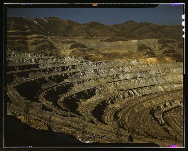 View of the Utah Copper Company open-pit mine workings at Carr Fork, as seen from the railroad, Bingham Canyon, Utah