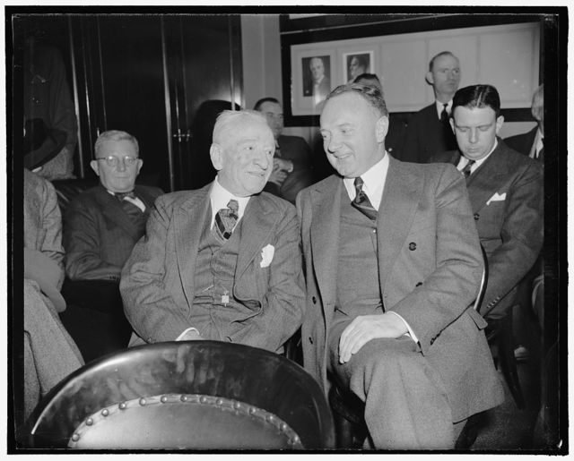Virginia Senators oppose nomination of Floyd Roberts to federal judgeship. Washington, D.C., Feb. 1. Senators Carter Glass and Harry F. Byrd, who are leading the opposition to the nomination of Floyd Roberts to a Federal District Judgeship in Virginia, are pictured as they listened to testimony before the Senate Judiciary Committee when public hearings on the nomination began, 2-1-39