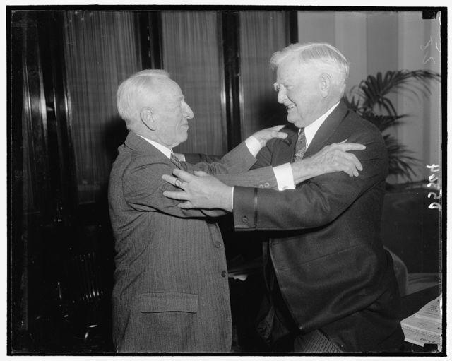 V.P. Garner extends warm hug of congratulations to Demo. Senator Carter Glass of Va. who will be celebrating his 81st birthday, 1/1939