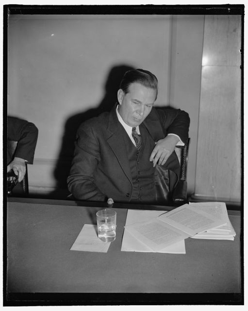 Waiting for the decision. Washington, D.C., Feb. 13. This study of former Rep. [Thomas] R. Amlie certainly does not indicate he is [confident] that the Senate will confirm his nomination as a member of the Interstate Commerce Commission to which post he was appointed by President Roosevelt. This picture was made as Amlie concluded his testimony before a Senate Committee last week