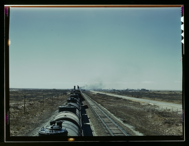 West bound Santa Fe R.R. freight train stopping for water, Tolar, N[ew] Mex[ico]