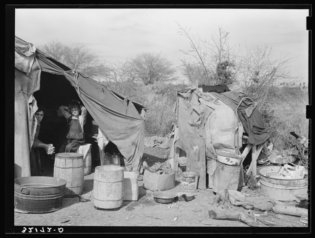 White migrant camp near Mercedes, Texas. Chicken coop at right constructed of gunny sacks and cardboard. See 32108-D