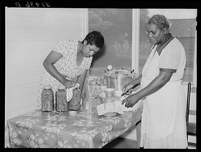 Wife and daughter of Frederick Oliver, tenant purchase client, canning food with aid of new pressure cooker. Summerton, South Carolina