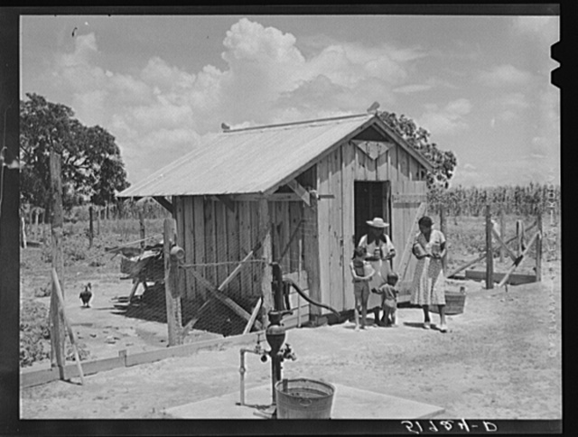 Wife of Frederick Oliver, tenant purchase client, bringing canned goods from smokehouse. Note driven well. Summerton, South Carolina