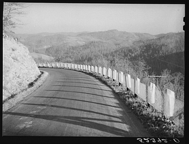 Winding road and general landscape. Smokey Mountains, North Carolina