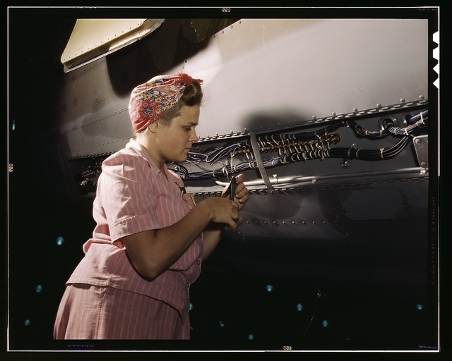 With careful Douglas training, women do accurate electrical assembly and installation work, Douglas Aircraft Company, Long Beach, Calif.