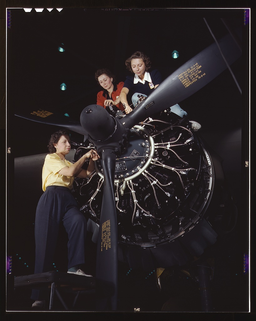 Women at work on C-47 Douglas cargo transport, Douglas Aircraft Company, Long Beach, Calif.