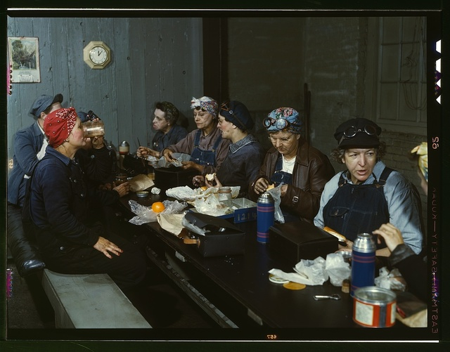 Women workers employed as wipers in the roundhouse having lunch in their rest room, C. & N.W. R.R., Clinton, Iowa