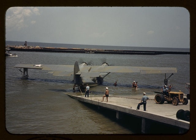 Working with a sea-plane at the Naval Air Base, Corpus Christi, Texas