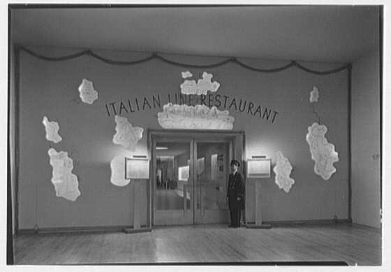 World's Fair, Italian Line restaurant, Italian Building. Main entrance, with doorman