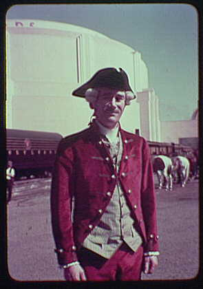 World's Fair, railroad pageant. Man in military costume with tricorne hat