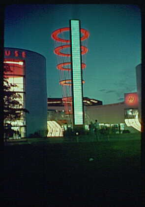 World's Fair. Singing Tower of Light and Westinghouse Building, view from left II