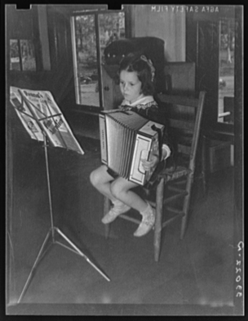 Young accordian player. Grade school, San Augustine, Texas