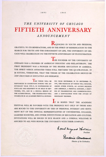 1891 1941. The University of Chicago. Fiftieth anniversary announcement. [Chicago, 1940].