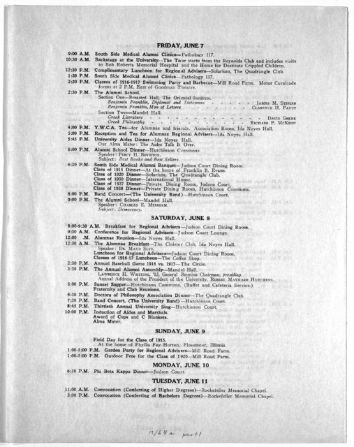 1940 alumni reunion. The University of Chicago. [Letter giving tentative program].