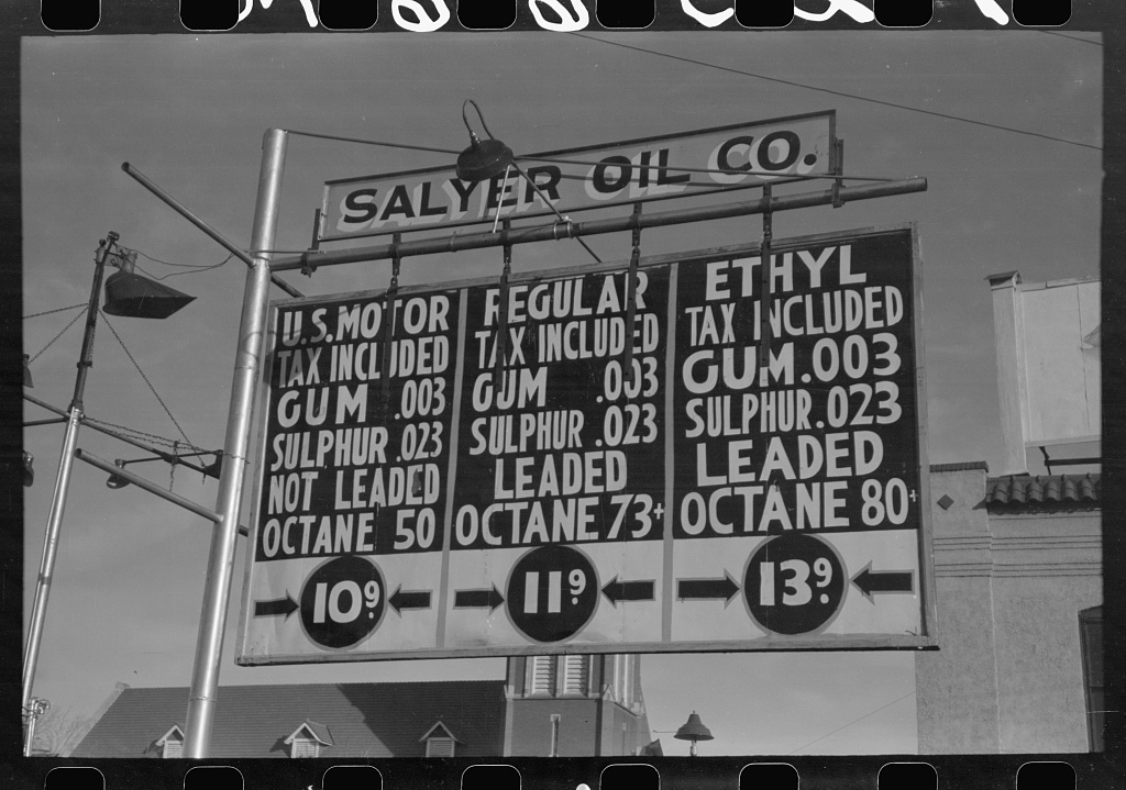 A law was passed in Oklahoma City requiring every filling station to display a chemical analysis of the gasoline sold. Law stayed in effect for only a few months. Oklahoma City, Oklahoma