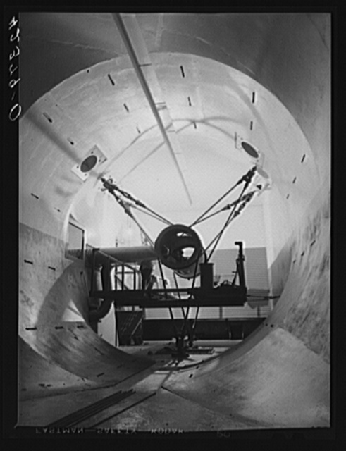 A new wind tunnel under construction at the Pratt and Whitney Aircraft Corporation as part of the expansion program. East Hartford, Connecticut