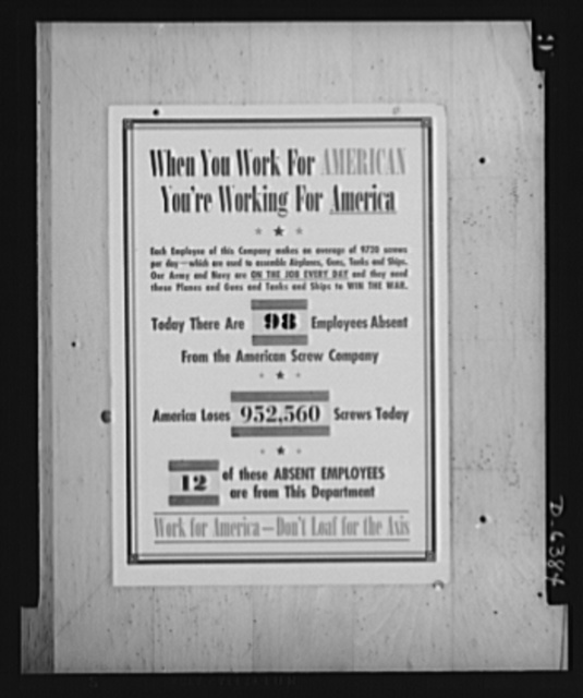 Absentee posters. To combat absenteeism, the labor-management committee of the American Screw Company, Providence, displays this chart with daily figures on absentees and translates this loss of man hours in terms of lost production of the company's product